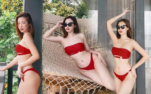 Lần hiếm hoi Đỗ Mỹ Linh diện bikini đỏ rực khoe body siêu chuẩn khiến fan ngây ngất