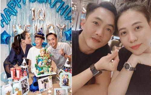 Vợ chồng Cường Đô La rạng rỡ trong tiệc sinh nhật Subeo nhưng thân hình 'phát tướng' của Đàm Thu Trang lại khiến dân tình chú ý hơn cả