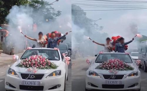 Cư dân mạng tranh cãi gay gắt hình ảnh cô dâu, chú rể đứng trên xe hoa, cầm pháo gây náo loạn đoạn đường