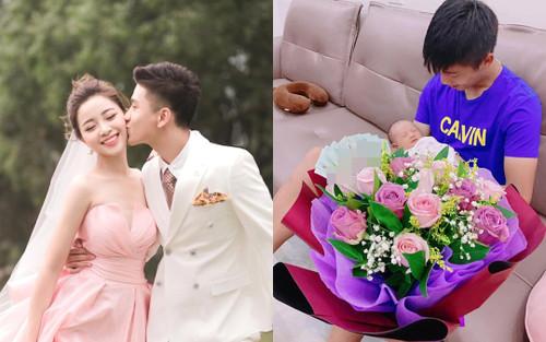 Nhật Linh hạnh phúc khoe hành động đặc biệt của ông xã nhân kỷ niệm một năm yêu nhau nhưng dân tình chỉ chú ý đến 'bó hoa đầy tiền' này