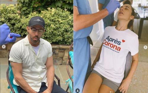 Biểu cảm hài hước của Ryan Reynolds và Gal Gadot khi bị kiểm tra COVID-19