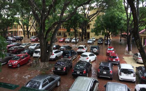 Dàn xe ô-tô đậu kín sân trường tại ngày họp phụ huynh ở Ninh Bình khiến dân mạng trầm trồ
