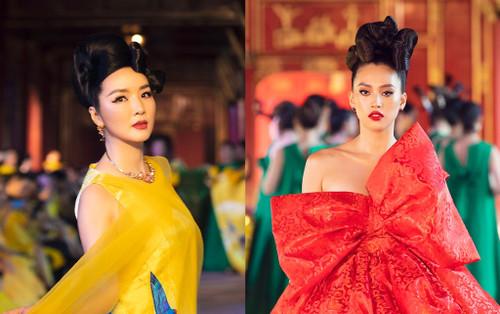 Tiểu Vy đẹp ngút ngàn với sắc đỏ, Hoa hậu Giáng My ngồi kiệu, mặc hoàng phục giữa sàn catwalk