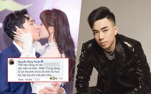 Nguyễn Hồng Thuận bị ném đá vì bình luận kém duyên dưới ảnh Trấn Thành hôn Hari Won