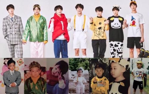 'Rụng rời' với bộ ảnh thời thơ ấu của BTS: Jin và V tựa hoàng tử, J-Hope như 'rich kids' chính hiệu