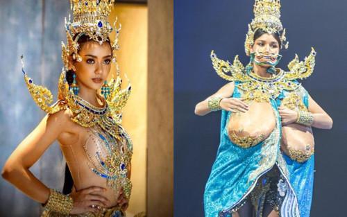Hoa hậu Hoàn vũ Thái Lan gây tranh cãi khi mang trang phục dân tộc bầu ngực trần tới Miss Universe 2020