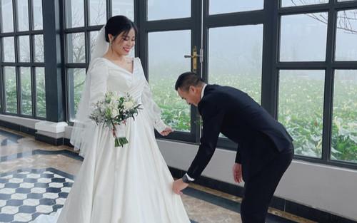 Đang hạnh phúc bên chồng, MC Hoàng Linh bất ngờ đăng ảnh mặc váy cưới khiến dân tình hoang mang