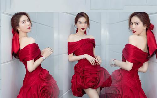 Ngọc Trinh diện đầm đỏ rực như đóa hồng lộng lẫy khiến fan xỉu lên xỉu xuống