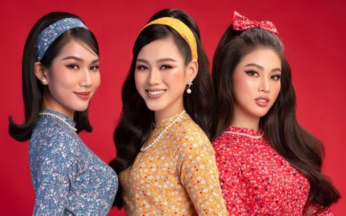 Top 3 Hoa hậu Việt Nam 2020 Đỗ Hà - Phương Anh - Ngọc Thảo chào xuân 'ngọt lịm' với áo dài cổ điển