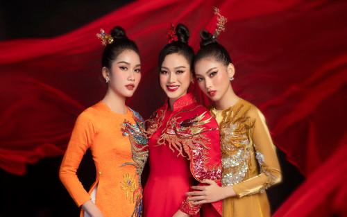 Đỗ Hà - Phương Anh - Ngọc Thảo rạng rỡ đốn tim fan khi phục sức áo dài rồng phượng