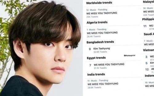 V (BTS) loạt top trending thế giới vì 'lặn mất tăm' trên mạng xã hội
