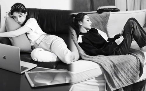 Lưu Diệc Phi & Địch Lệ Nhiệt Ba mặc đồ giản dị nằm ườn trên sofa xem show Louis Vuitton