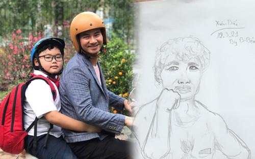 Xuân Bắc 'cạn lời' khi thấy ảnh chân dung con trai Bi Béo vẽ cho mình