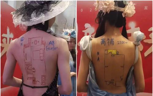 Phản cảm chiêu trò vẽ sơ đồ nhà lên lưng người mẫu để quảng cáo bất động sản