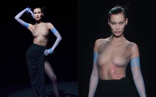 Siêu mẫu Bella Hadid để ngực trần trụi khi trình diễn cho show Mugler