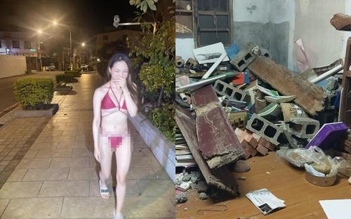 Cô gái mặc bikini 2 mảnh chạy ra ngoài đường lúc nửa đêm vì... động đất?