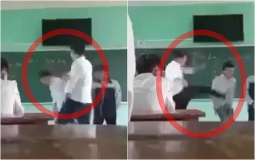 Phẫn nộ thầy giáo buông lời thô tục, liên tiếp tát mạnh vào đầu rồi đá thẳng vào học sinh giữa bục giảng
