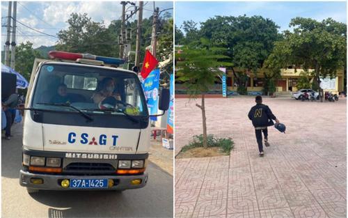 Thí sinh bị hỏng xe, chiến sỹ CSGT dùng xe chuyên dụng đến đón