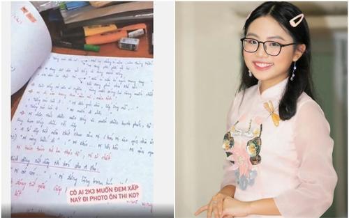 Phương Mỹ Chi khoe tập đề cương ôn tập môn Ngữ Văn tự viết tay khiến dân tình xuýt xoa khen ngợi