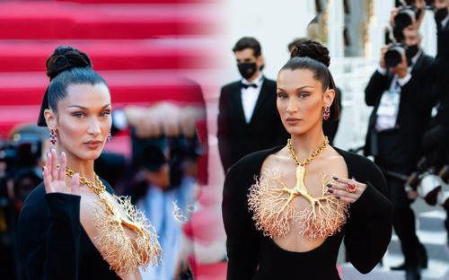 Bella Hadid thả rông vòng 1 hoàn toàn nhưng vòng cổ hình lá phổi mới gây rúng động thảm đỏ Cannes