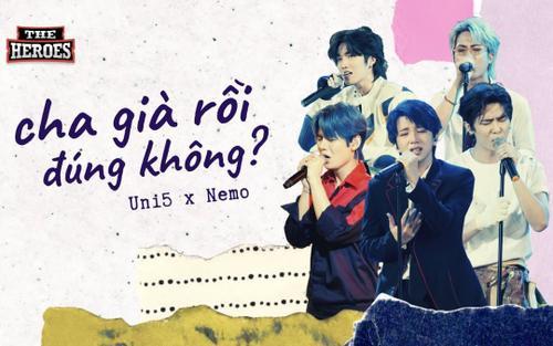 Giàn giụa nước mắt nghe Uni5 hát về cha trên sân khấu The Heroes