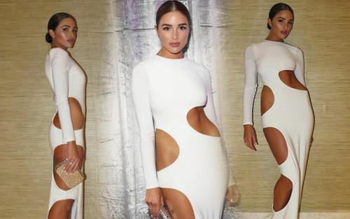 Miss Universe Olivia Culpo diện váy đục khoét 'hư hỏng' đi bước nào fan đứng tim bước đó