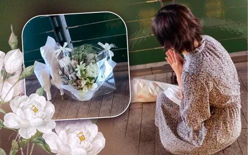 Những nhành hoa trắng xếp gọn gàng ở bờ sông để tiếc thương chàng trai Việt bị hành hung ở Nhật Bản