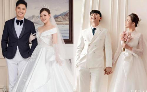 So kè bộ ảnh cưới của Mạnh Trường - Phương Oanh và Thu Quỳnh - Anh Vũ trong 'Hương vị tình thân'