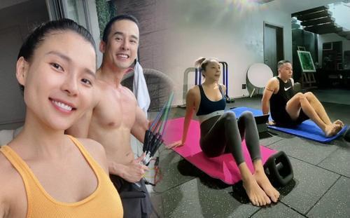 Ở nhà mùa dịch, vợ chồng Thúy Diễm, Tóc Tiên chăm tập thể dục cùng nhau