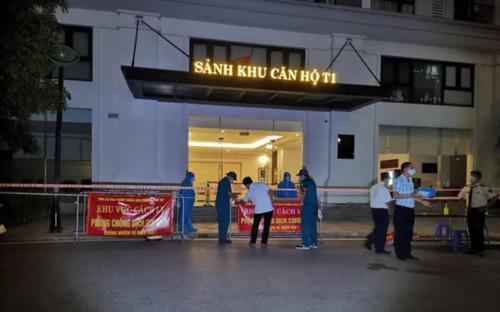 Phong toả tạm thời toà T1, Khu đô thị Times City sau khi phát hiện 4 ca dương tính SARS-CoV-2