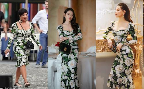 Mẹ Kim Kardashian phá dáng bộ đầm hoa đắt đỏ giống của Hà Hồ, Son Ye Jin