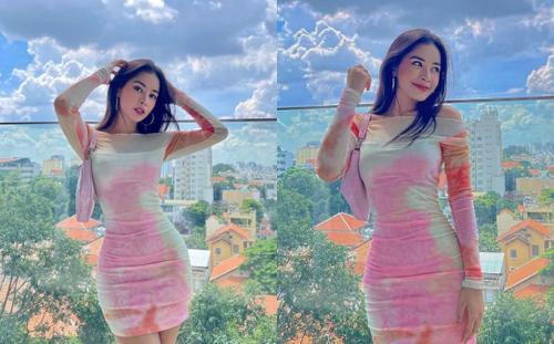 Chán hở hang, Chi Pu kín đáo trong thiết kế váy gam màu 'loang lổ'