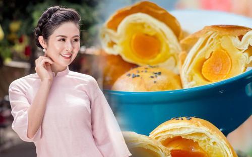 Hoa hậu Ngọc Hân trổ tài làm bánh Trung thu nghìn lớp ai nhìn cũng muốn ăn
