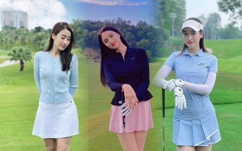 Hoa hậu Đỗ Mỹ Linh, Hương Giang 'đua nhau' mặc váy đi đánh Golf