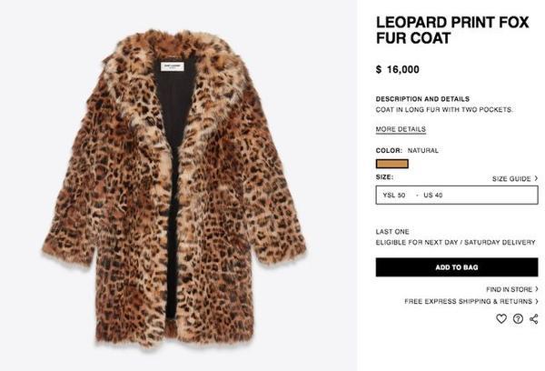 Thiết kế áo lông da báo mềm mại, xịn xò này thuộc thương hiệu Saint Laurent, với mức giá đắt đỏ 16.000$ - khoảng 352 triệu đồng.