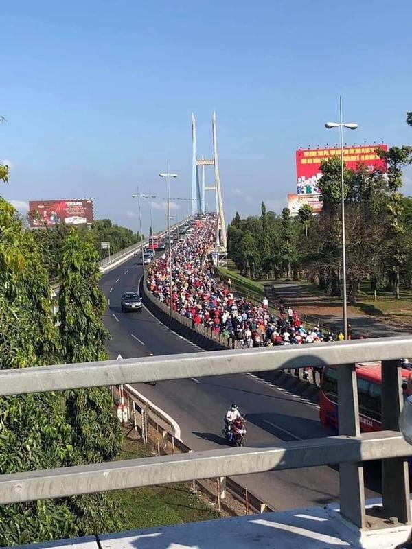 Cầu Mỹ Thuận (TP.HCM) 'thất thủ'. Ảnh: Phạm Thắng