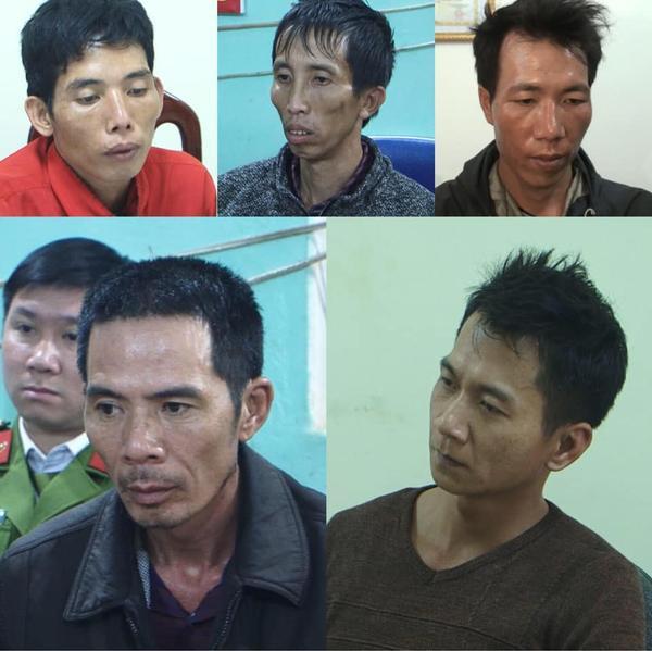 Chân dung 5 nghi phạm bị b.ắt giữ tại cơ quan điều tra.