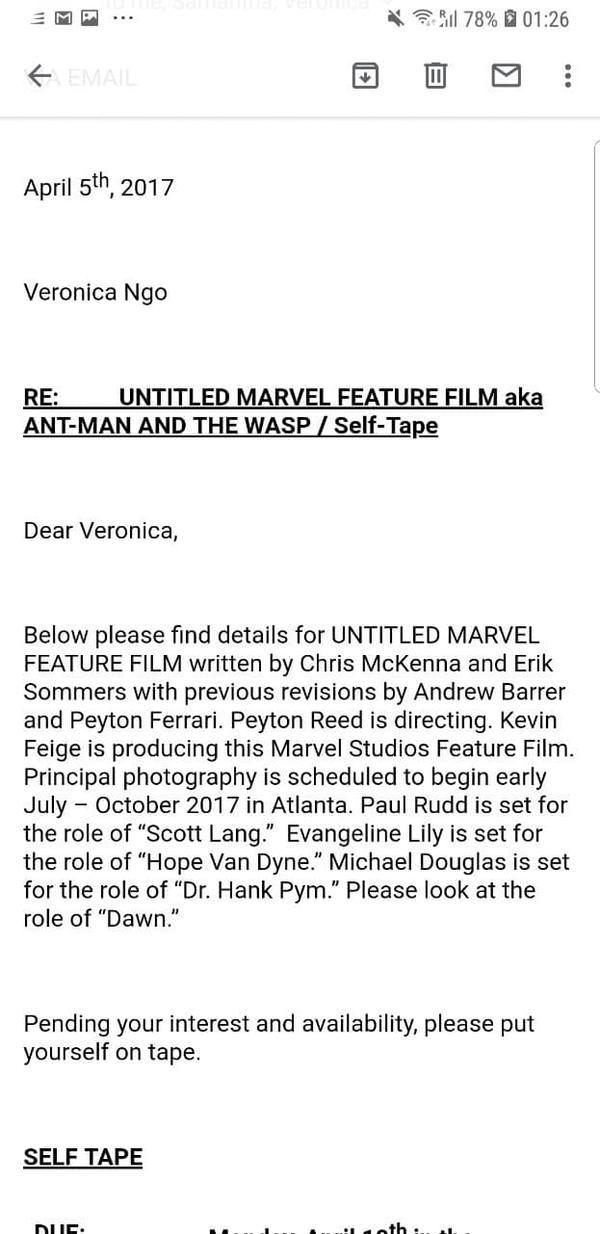 Ngô Thanh Vân từng gửi video casting cho Ant-man and the Wasp.
