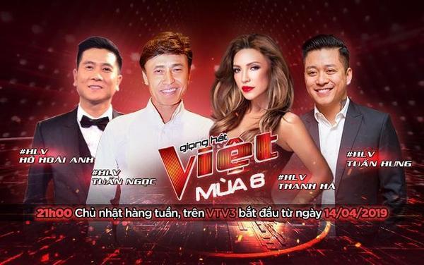 Bộ tứ huấn luyện viên của Giọng hát Việt mùa 6: Tuấn Ngọc, Thanh Hà, Tuấn Hưng và Hồ Hoài Anh.