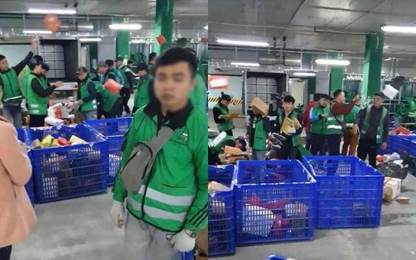 Cảnh ném phân loại hàng hoá trong kho Giao hàng tiết kiệm gây xôn xao.