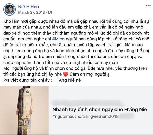 Dòng trạng thái kêu gọi bình chọn cho đồng hương của H'Hen Niê.