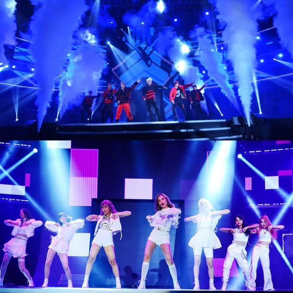 Màn trình diễn chuẩn Kpop với công nghệ và ánh sáng hiện đại của 2 nhóm nhạc đa quốc tịch Z-Boys và Z-Girls.