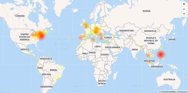 Bản đồ các khu vực được cho là có người dùng bị ảnh hưởng nhiều nhất vì lỗi lần này của Facebook.