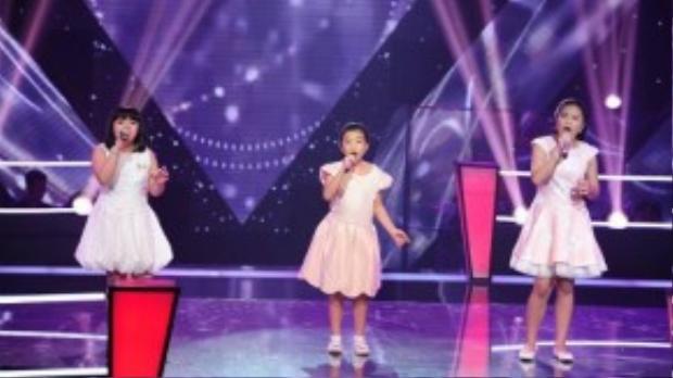Cindy Linh Nhi, Phương Khanh và Tường Vy trong phần thi Immortality.