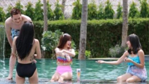 Cảnh quay cho phim còn có sự góp mặt của diễn viên hài Diệu Nhi, Minh Anh