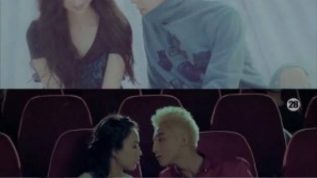 Cảnh quay khi đang ở cạnh bạn gái, biểu cảm và nét mặt của 2 người khá giống nhau. (Ảnh chụp từ clip)