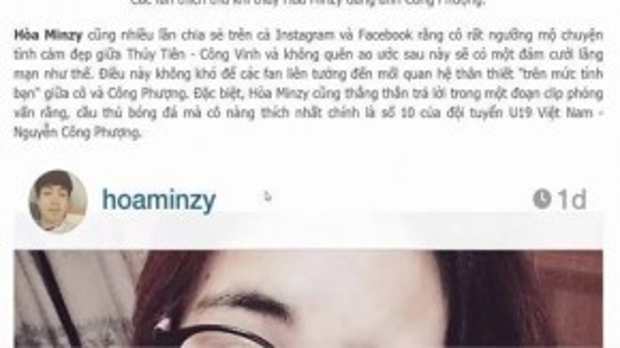 """Những bức ảnh hé lộ mối quan hệ giữa Hòa Minzy và Công Phượng do chính cô """"vô tình"""" đăng tải, cập nhật."""