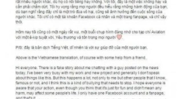 Anh còn cẩn thận chú thích cả tiếng Anh và tiếng Việt để cho nhiều fan hâm mộ tiện theo dõi.