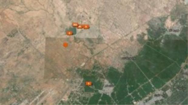 Bản đồ đường đến nơi có nhiều cừu ở Bác Ái, chỗ có các con số màu đỏ trên ảnh chính là hồ thủy lợi.