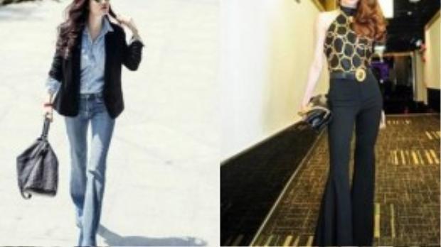 Trương Ngọc Ánh bụi bặm, khỏe khoắn trong trang phục jeans cá tính.Hồ Ngọc Hà thời thượng với quần vải rất kén người mặc của Versace. Cả 2 khiến người nhìn thẫn thờ bởi đôi chân thon dài khi đều lựa chọn quần loe ống rộng giúp tôn dáng.